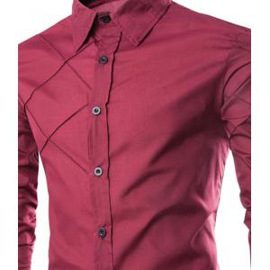 Fashion Shirt Collar Slimming Checked Sutures Design Long Sleeve Polyester Shirt For Men - WINE RED M