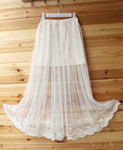 Trendy See-Through Tulle Overlay Skirt WHITE ONE SIZE(FIT SIZE XS TO M)