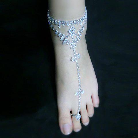 Sale Delicate Rhinestone Openwork Triangle Design Anklet For Women