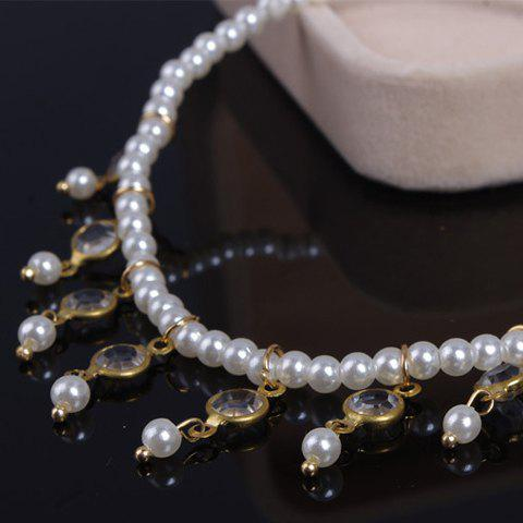 Sale Faux Pearl Tassel Beaded Anklet - WHITE  Mobile