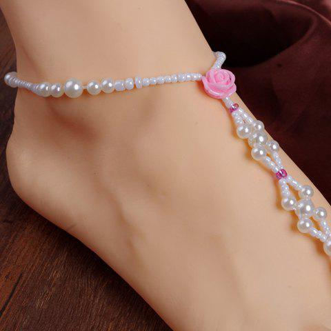 Faux Pearl Flower Decorated Girl Flower Anklet - PINK