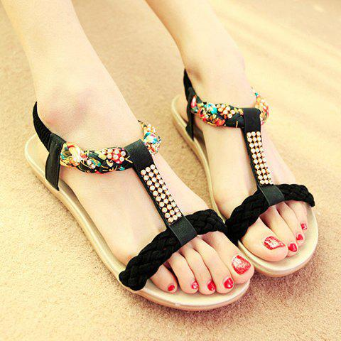Outfit Sweet Weaving and Rhinestones Design Women's Sandals - 38 BLACK Mobile