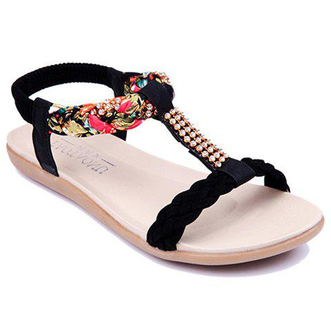 Fancy Sweet Weaving and Rhinestones Design Women's Sandals BLACK 36