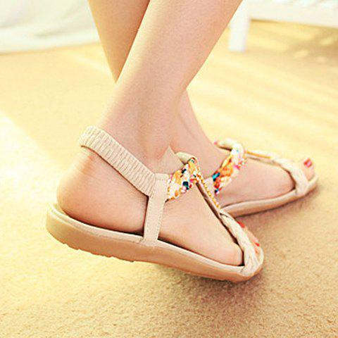 Affordable Sweet Weaving and Rhinestones Design Women's Sandals - 39 OFF-WHITE Mobile