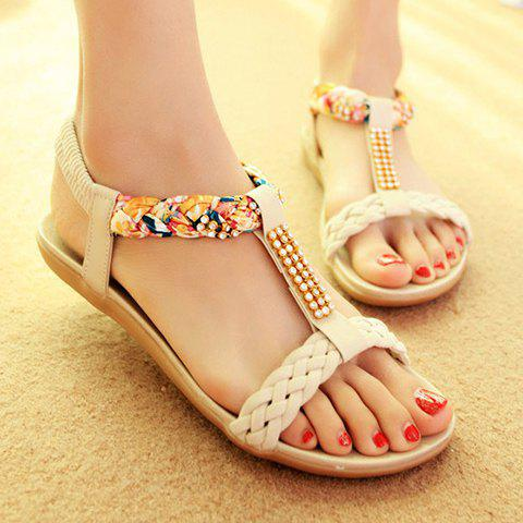 Latest Sweet Weaving and Rhinestones Design Women's Sandals - 39 OFF-WHITE Mobile