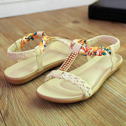 Hot Sweet Weaving and Rhinestones Design Women's Sandals - 39 OFF-WHITE Mobile
