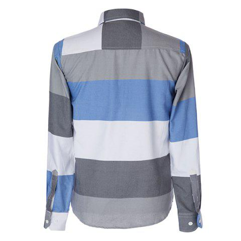 Fancy Trendy Distinct Color Block Stripes Print Turn-down Collar Slimming Long Sleeves Men's Shirt - XL COLORMIX Mobile
