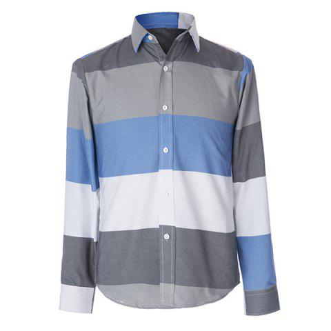 Sale Trendy Distinct Color Block Stripes Print Turn-down Collar Slimming Long Sleeves Men's Shirt - XL COLORMIX Mobile