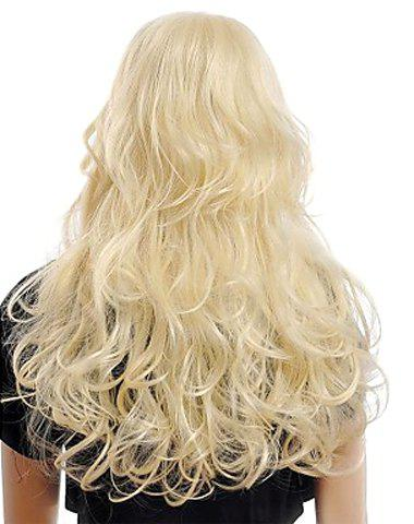 Sale Fashion Fluffy Long Big Curly Heat-Resistant Glonde Blonde Capless Women's Synthetic Hair Wig - GOLDEN  Mobile