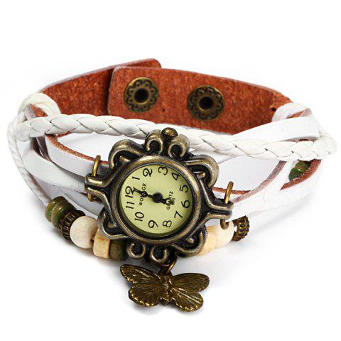 Best Womage 695 Retro Style Weave Wrap around Leather Bracelet Lady Butterfly Quartz Watch
