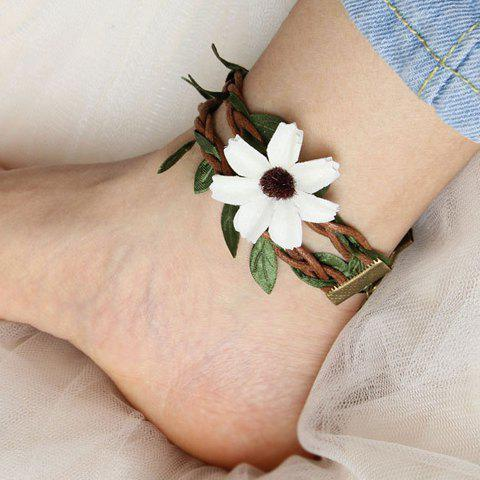 Chic Forest Style Floral Plant Layered Anklet BROWN
