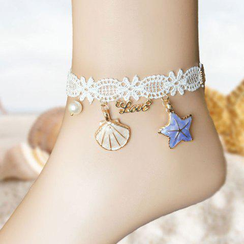 Store Lace Shell Starfish Beach Anklets WHITE