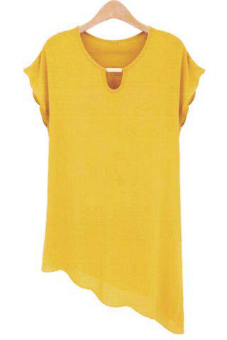 Online Stylish Scoop Neck Short Sleeve Solid Color Asymmetric Chiffon Blouse For Women