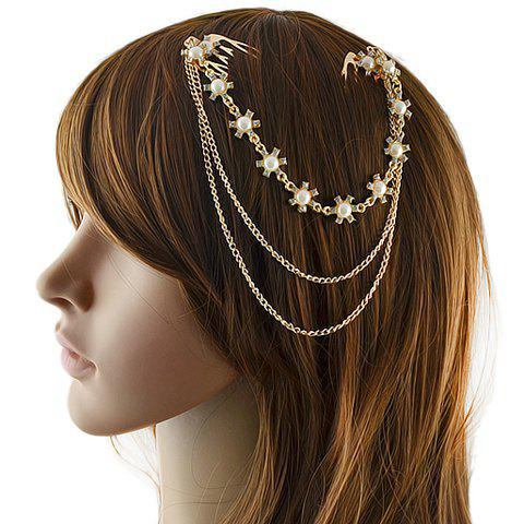 Sale Chic Faux Pearl Rhinestone Floral Hair Comb For Women