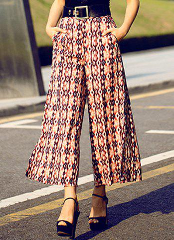 Best Vintage High-Waisted Printed Wide Leg Women's Pants PINK S