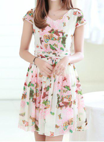 Outfits Vintage V-Neck Short Sleeve Butterfly Print Chiffon Women's Dress