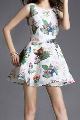 Latest Vintage Style Scoop Collar Sleeveless Printed Women's Dress