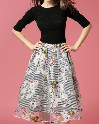 Buy Vintage Round Neck Half Sleeve Bowknot Embellished Blouse + Printed Skirt Women's Twinset - S BLACK Mobile