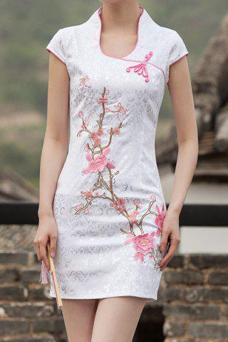 New Vintage Stand-Up Collar Short Sleeve Embroidered Women's Dress