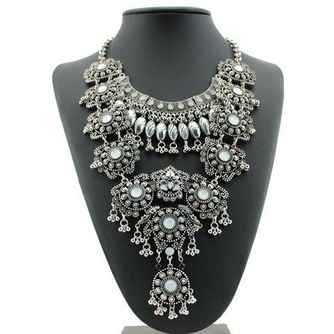Store Ethnic Beads Layered Necklace For Women SILVER