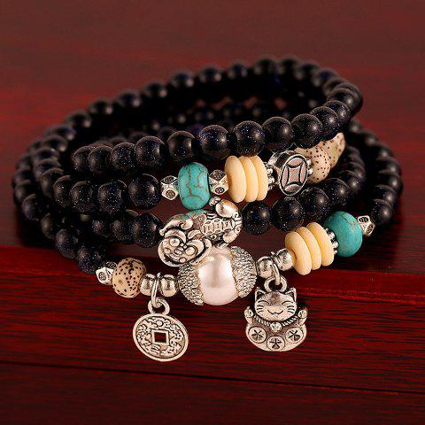 Fancy Layered Vintage Beads Coin Cat Pendant Bracelet