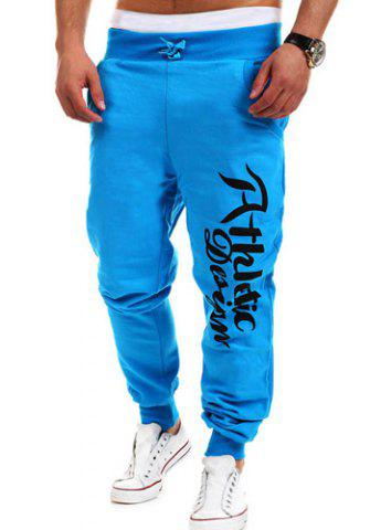 Loose Fit Stylish Lace-Up Letters Print Beam Feet Polyester Sweatpants For Men - WATER BLUE XL