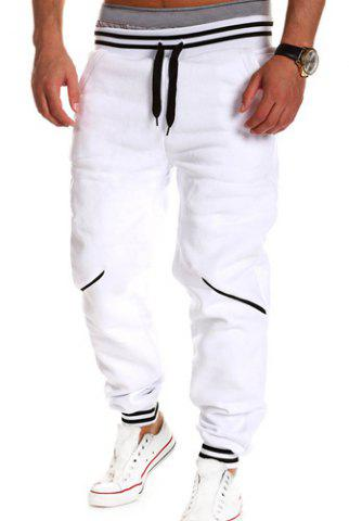 Fancy Contrast Striped Drop Crotch Joggers WHITE XL