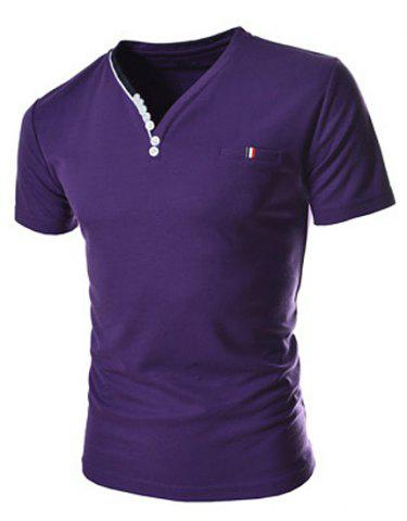 Outfit Stylish V-Neck Slimming Button Embellished Color Splicing Short Sleeve Polyester T-Shirt For Men PURPLE 2XL