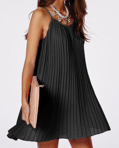 Shop Sexy Spaghetti Strap Solid Color Pleated Dress For Women