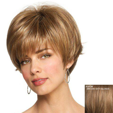 Shop Capless Professional Hairstyle Side Bang Fluffy Short Straight Fashion Women's Human Hair Wig - BROWN WITH BLONDE  Mobile