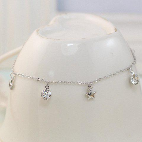Cheap Delicate Rhinestone Star Pendant Anklet SILVER
