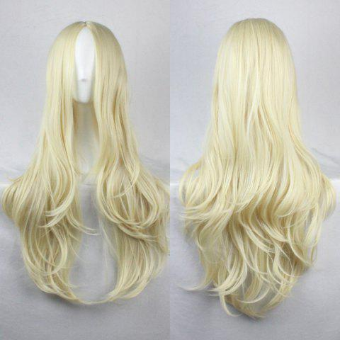 Fashion Fashion Fluffy Centre Parting Charming Long Wavy Synthetic Wig For Women LIGHT GOLD