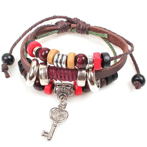 Best Cute Colored Beads Key Pendant Design Bracelet For Women BROWN