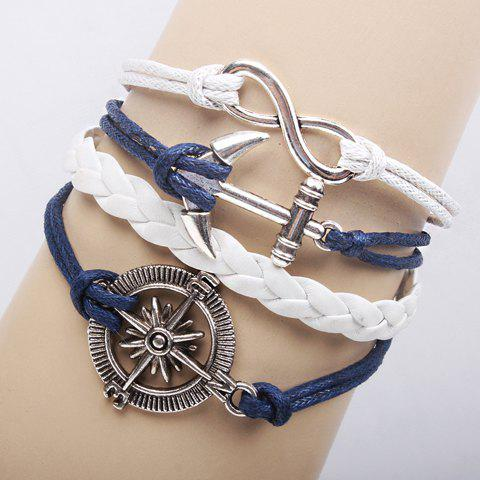 Latest Classic Weaved Chain Anchor Rudder Decorated Bracelet For Women WHITE