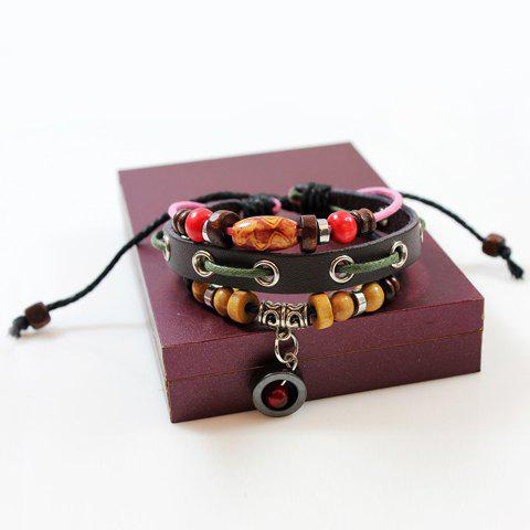 Chic Cute Colored Beads Decorated Layered Bracelet For Women COFFEE
