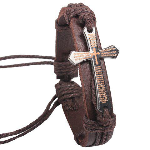 Vintage Scripture Cross Faux Leather Charm Bracelet - Brown