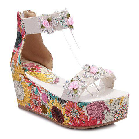 New Sweet Flowers Pattern and Applique Design Women's Sandals