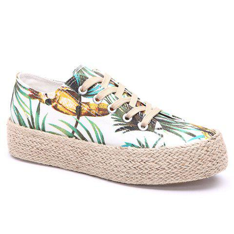 3419a701a0 2019 Fashionable Floral Print And Lace-up Design Women s Canvas Shoes