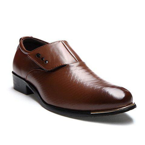 Discount Stylish Metallic and PU Leather Design Men's Formal Shoes - 42 COFFEE Mobile