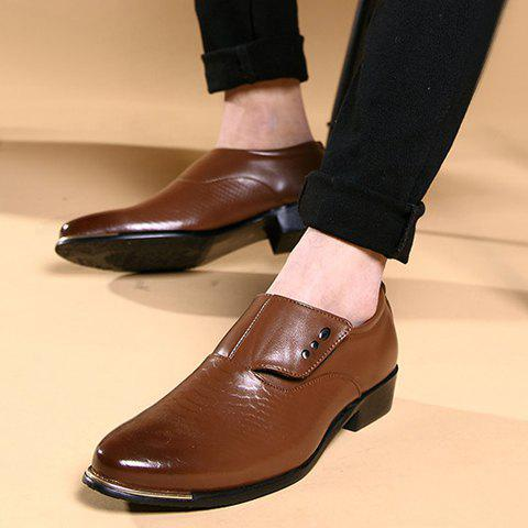 Outfits Stylish Metallic and PU Leather Design Men's Formal Shoes - 42 COFFEE Mobile