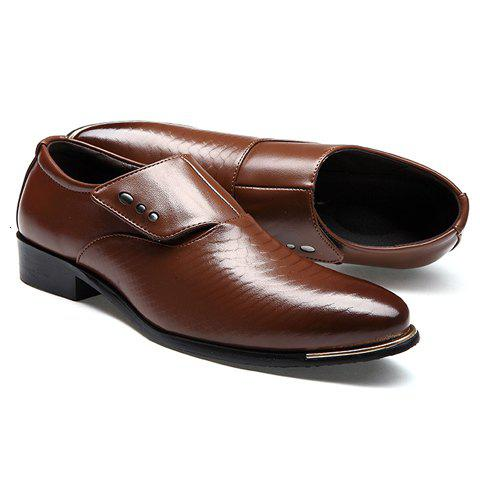 Buy Stylish Metallic and PU Leather Design Men's Formal Shoes - 42 COFFEE Mobile