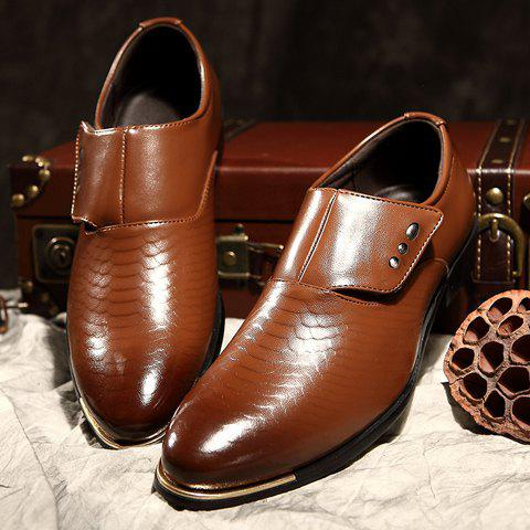 Store Stylish Metallic and PU Leather Design Men's Formal Shoes - 42 COFFEE Mobile