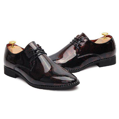 Unique Stylish Pointed Toe and Patent Leather Design Men's Formal Shoes - 43 ROSE Mobile