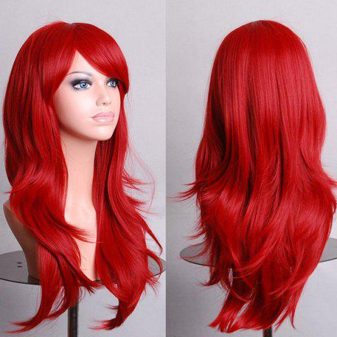 Best Fashion 70CM Fluffy Multi-Layered Long Wavy Side Bang Multicolor Optional Cosplay Wig RED