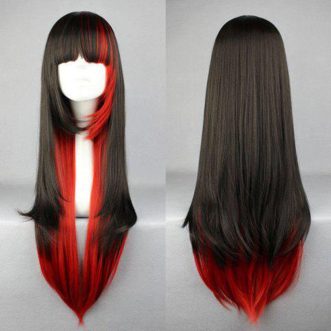 Cheap Stylish Outstanding Full Bang Multi-Layered Long Straight Black Gradient Red Cosplay Wig MULTI