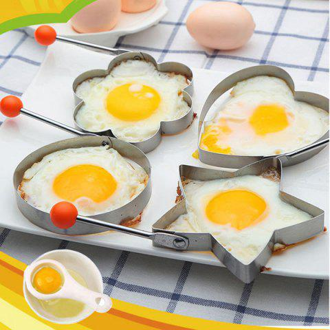 Stainless Steel Fried Egg Mold Kitchen Cooking Tool with Heart / Ring / Flower / Star Shape - 4pcs - SILVER