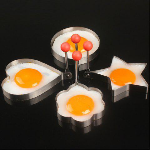Fashion Stainless Steel Fried Egg Mold Kitchen Cooking Tool with Heart / Ring / Flower / Star Shape - 4pcs - SILVER  Mobile