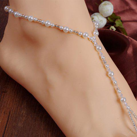 Unique ONE PIECE Faux Pearl Beaded Anklet