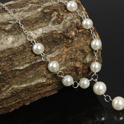 Store ONE PIECE Faux Pearl Decorated Anklet - SILVER  Mobile