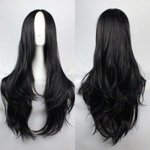 Fashion Fluffy Centre Parting Charming Long Wavy Synthetic Wig For Women - Black - S